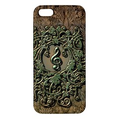 Elegant Clef With Floral Elements On A Background With Damasks Apple Iphone 5 Premium Hardshell Case by FantasyWorld7