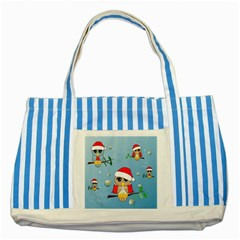 Funny, Cute Christmas Owls With Snowflakes Striped Blue Tote Bag  by FantasyWorld7