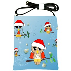 Funny, Cute Christmas Owls With Snowflakes Shoulder Sling Bags by FantasyWorld7
