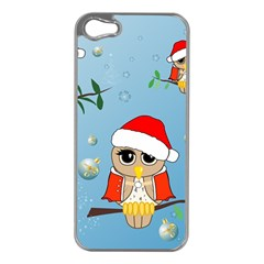 Funny, Cute Christmas Owls With Snowflakes Apple Iphone 5 Case (silver) by FantasyWorld7