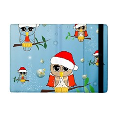Funny, Cute Christmas Owls With Snowflakes Apple Ipad Mini Flip Case by FantasyWorld7