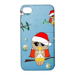 Funny, Cute Christmas Owls With Snowflakes Apple Iphone 4/4s Hardshell Case With Stand by FantasyWorld7