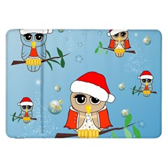 Funny, Cute Christmas Owls With Snowflakes Samsung Galaxy Tab 8 9  P7300 Flip Case by FantasyWorld7