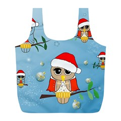 Funny, Cute Christmas Owls With Snowflakes Full Print Recycle Bags (l)  by FantasyWorld7