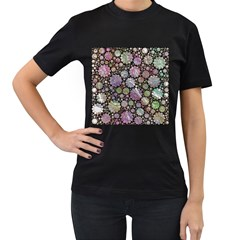 Sweet Allover 3d Flowers Women s T-shirt (black) by MoreColorsinLife
