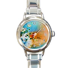 Wonderful Flowers In Colorful And Glowing Lines Round Italian Charm Watches by FantasyWorld7