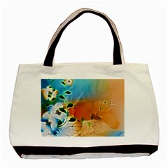 Wonderful Flowers In Colorful And Glowing Lines Basic Tote Bag  by FantasyWorld7