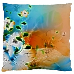 Wonderful Flowers In Colorful And Glowing Lines Large Cushion Cases (one Side)  by FantasyWorld7