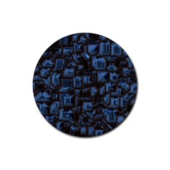Metalart 23 Blue Rubber Coaster (round)  by MoreColorsinLife