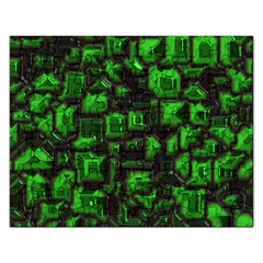 Metalart 23 Green Rectangular Jigsaw Puzzl by MoreColorsinLife