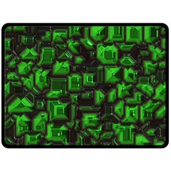 Metalart 23 Green Double Sided Fleece Blanket (large)  by MoreColorsinLife