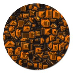 Metalart 23 Orange Magnet 5  (round) by MoreColorsinLife