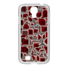 Metalart 23 Red Silver Samsung Galaxy S4 I9500/ I9505 Case (white)