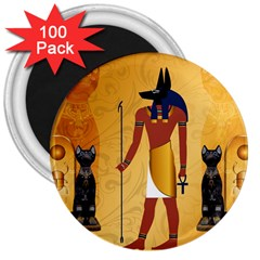 Anubis, Ancient Egyptian God Of The Dead Rituals  3  Magnets (100 Pack) by FantasyWorld7