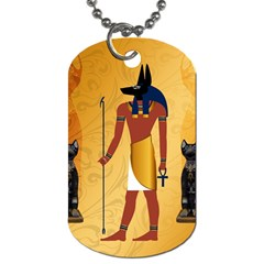Anubis, Ancient Egyptian God Of The Dead Rituals  Dog Tag (one Side) by FantasyWorld7