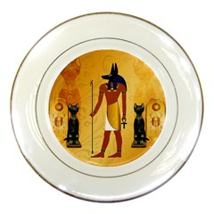 Anubis, Ancient Egyptian God Of The Dead Rituals  Porcelain Plates by FantasyWorld7