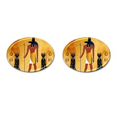 Anubis, Ancient Egyptian God Of The Dead Rituals  Cufflinks (oval) by FantasyWorld7