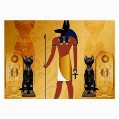Anubis, Ancient Egyptian God Of The Dead Rituals  Large Glasses Cloth (2 Side) by FantasyWorld7