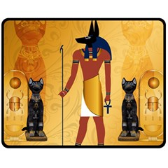 Anubis, Ancient Egyptian God Of The Dead Rituals  Fleece Blanket (medium)  by FantasyWorld7