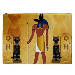 Anubis, Ancient Egyptian God Of The Dead Rituals  Cosmetic Bag (xxl)  by FantasyWorld7