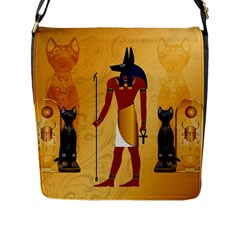 Anubis, Ancient Egyptian God Of The Dead Rituals  Flap Messenger Bag (l)  by FantasyWorld7