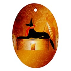 Anubis, Ancient Egyptian God Of The Dead Rituals  Ornament (oval)