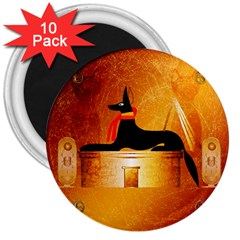 Anubis, Ancient Egyptian God Of The Dead Rituals  3  Magnets (10 Pack)  by FantasyWorld7