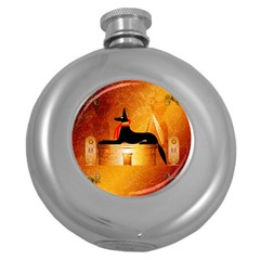 Anubis, Ancient Egyptian God Of The Dead Rituals  Round Hip Flask (5 Oz) by FantasyWorld7