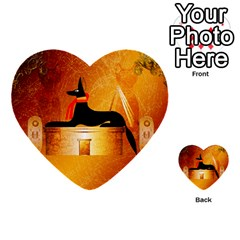 Anubis, Ancient Egyptian God Of The Dead Rituals  Multi Purpose Cards (heart)  by FantasyWorld7