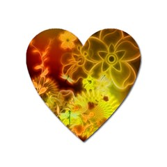 Glowing Colorful Flowers Heart Magnet by FantasyWorld7