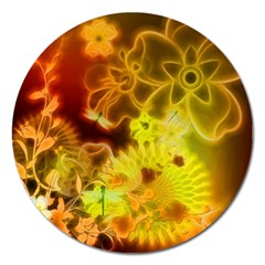 Glowing Colorful Flowers Magnet 5  (round) by FantasyWorld7