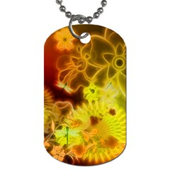 Glowing Colorful Flowers Dog Tag (one Side) by FantasyWorld7