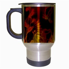 Glowing Colorful Flowers Travel Mug (silver Gray) by FantasyWorld7