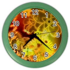 Glowing Colorful Flowers Color Wall Clocks by FantasyWorld7