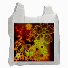 Glowing Colorful Flowers Recycle Bag (one Side) by FantasyWorld7