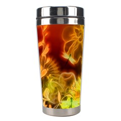 Glowing Colorful Flowers Stainless Steel Travel Tumblers by FantasyWorld7