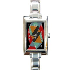 Fractal Design In Red, Soft Turquoise, Camel On Black Rectangle Italian Charm Watches by digitaldivadesigns