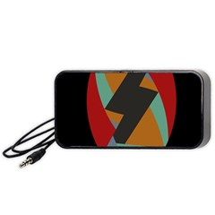 Fractal Design In Red, Soft Turquoise, Camel On Black Portable Speaker (black)  by digitaldivadesigns