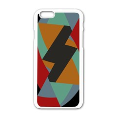 Fractal Design In Red, Soft Turquoise, Camel On Black Apple Iphone 6 White Enamel Case by digitaldivadesigns