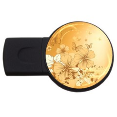 Wonderful Flowers With Butterflies Usb Flash Drive Round (2 Gb)  by FantasyWorld7