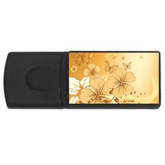 Wonderful Flowers With Butterflies Usb Flash Drive Rectangular (4 Gb)  by FantasyWorld7