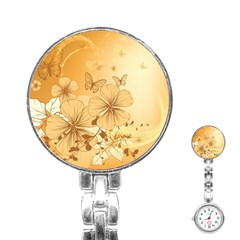 Wonderful Flowers With Butterflies Stainless Steel Nurses Watches