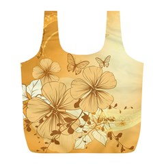 Wonderful Flowers With Butterflies Full Print Recycle Bags (l)  by FantasyWorld7