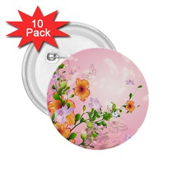 Beautiful Flowers On Soft Pink Background 2 25  Buttons (10 Pack)  by FantasyWorld7