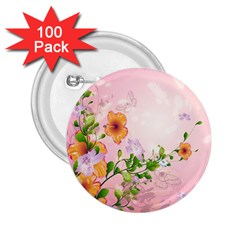 Beautiful Flowers On Soft Pink Background 2 25  Buttons (100 Pack)  by FantasyWorld7