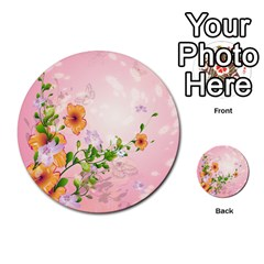 Beautiful Flowers On Soft Pink Background Multi Purpose Cards (round)  by FantasyWorld7