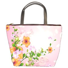 Beautiful Flowers On Soft Pink Background Bucket Bags by FantasyWorld7