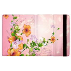 Beautiful Flowers On Soft Pink Background Apple Ipad 2 Flip Case by FantasyWorld7