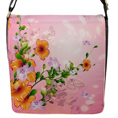 Beautiful Flowers On Soft Pink Background Flap Messenger Bag (s) by FantasyWorld7