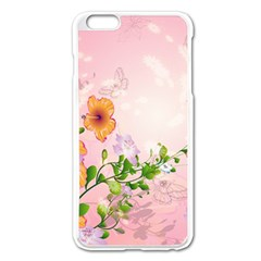 Beautiful Flowers On Soft Pink Background Apple Iphone 6 Plus Enamel White Case by FantasyWorld7